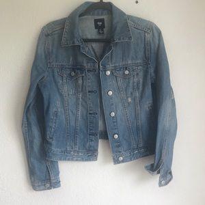 Gap denim jacket distressed small